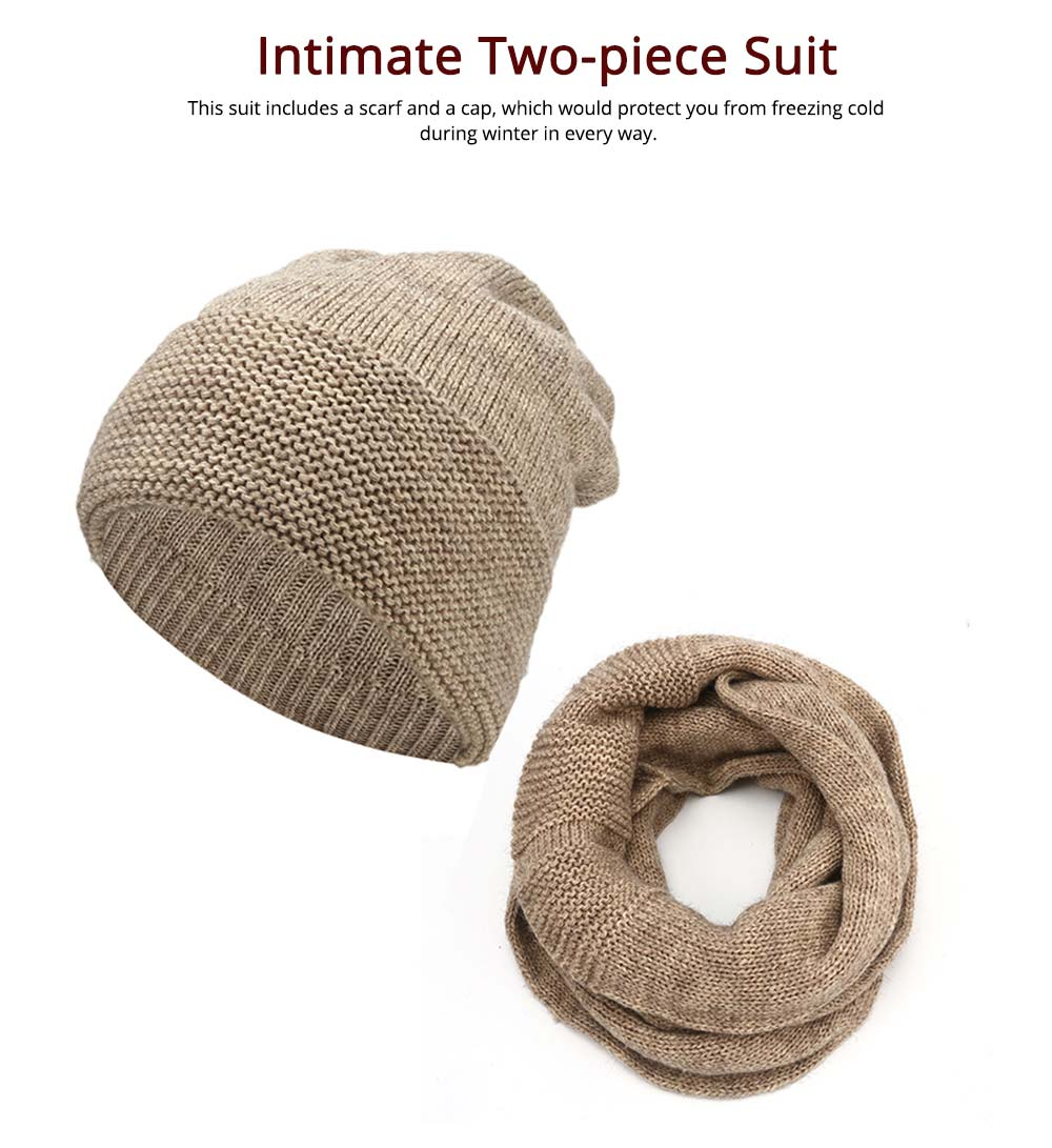 Men's Scarf and Hat 2pcs Set, Warm Soft Acrylic Elastic Face Neck Warmer Cravat 10