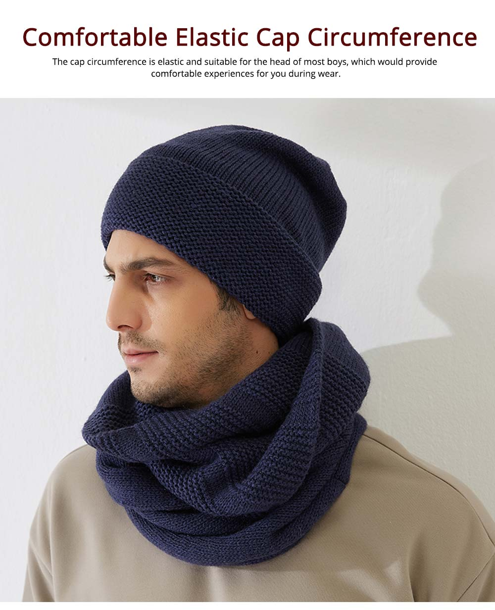 Men's Scarf and Hat 2pcs Set, Warm Soft Acrylic Elastic Face Neck Warmer Cravat 9