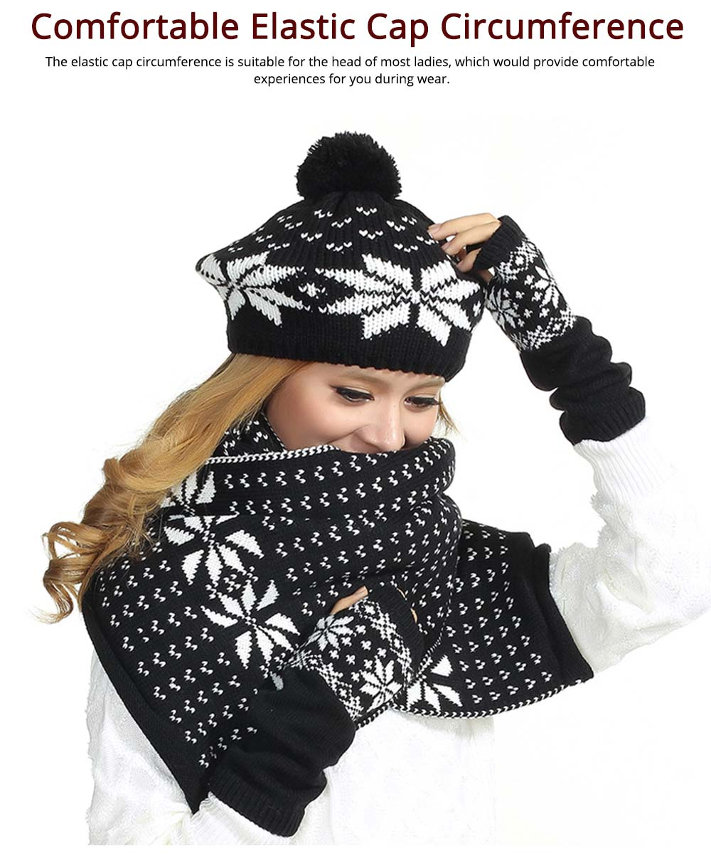 Thicken Acrylic Snowflake Painting Ladies Scarf Hat Mitt Gloves Suit Fashion Colors Contrast Winter 3 PCS Set  3