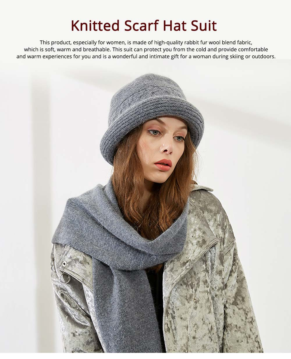 Fashion Simple Women Crimping Edge Hat Scarf Suit, Warm Smooth Rabbit Fur Wool Blend Knitted Hat and Circle Scarf 7