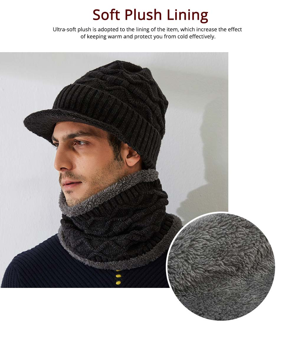 Cold Autumn Winter Men Outdoor Scarf Cap Suit, Comfortable Soft Wool Blend Knitted Face Neck Warmer Cravat 2