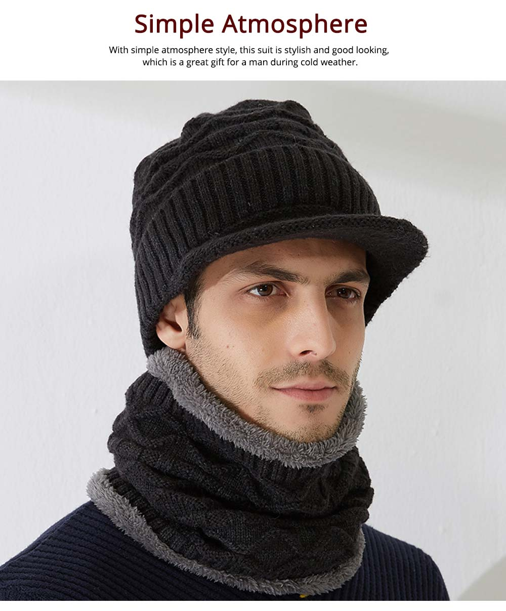 Cold Autumn Winter Men Outdoor Scarf Cap Suit, Comfortable Soft Wool Blend Knitted Face Neck Warmer Cravat 5
