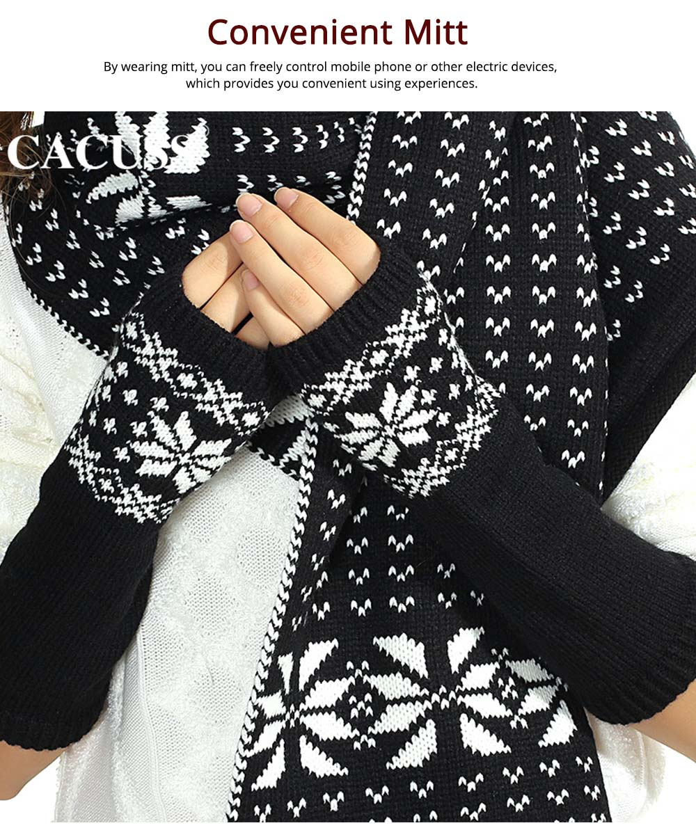 Christmas Present for Women - Thicken Acrylic Snowflake Painting Ladies Scarf Hat Mitt Gloves Suit, Fashion Colors Contrast Winter 3 PCS Set  8