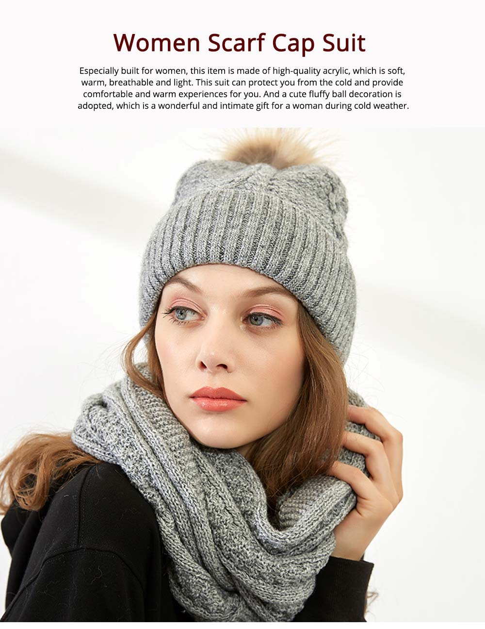 Thick Women Scarf Cap Suit, Warm Soft Acrylic Knitted Snood Face Neck Warmer Cravat Beanies 6