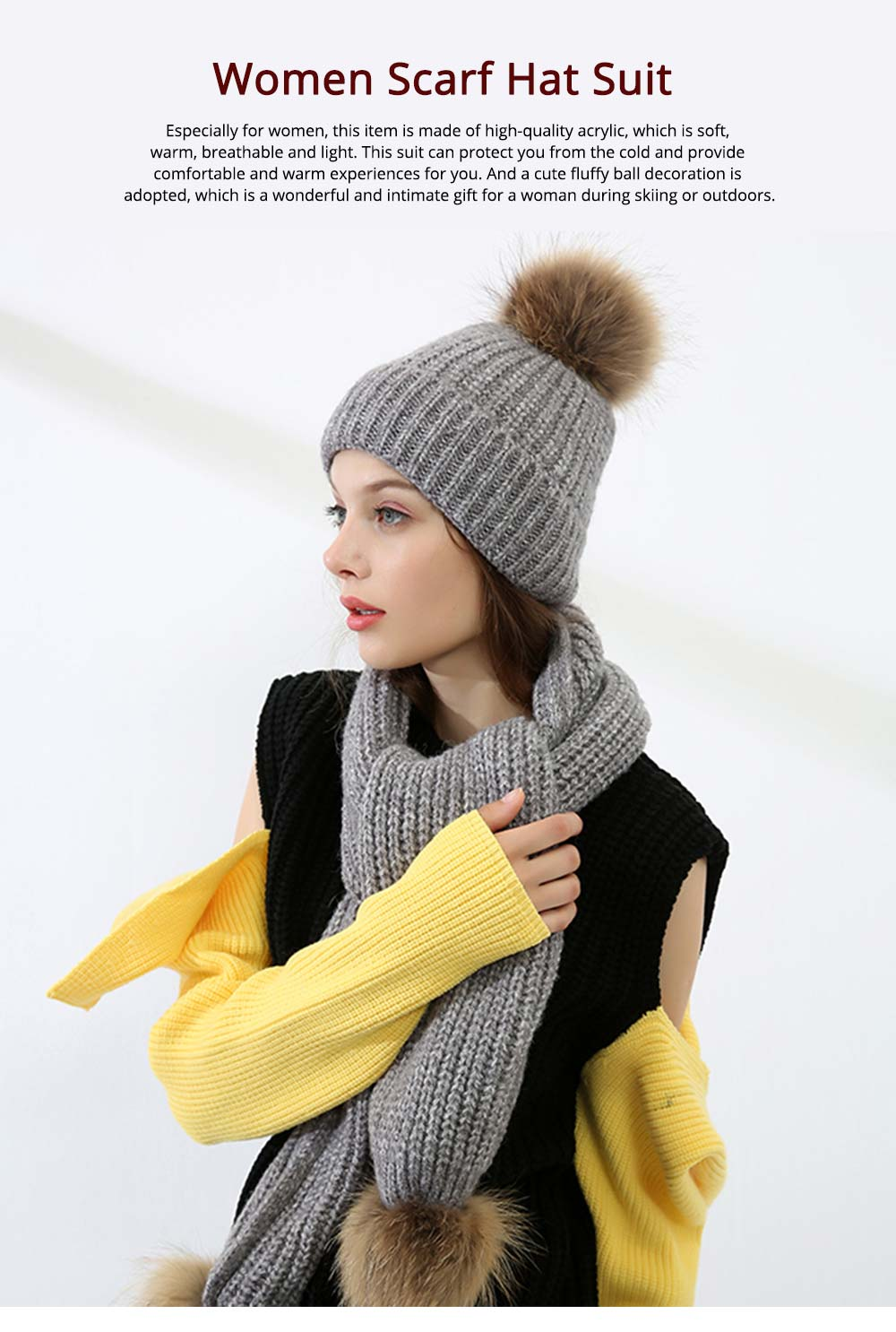 Women Beanie Hat Scarf Set with Fluffy Decorative Ball, Warm Winter Thicken Outdoor Skiing Knitted Cap Scarf Suit 7