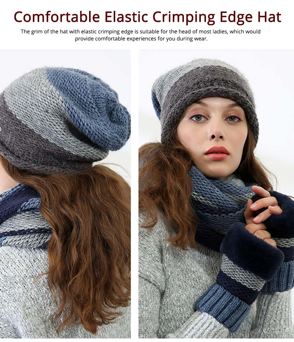 Thicken Scarf Hat Mitten Gloves 3PCS Suit, Fashion Cute Color Contrast Knitted Beanie Scarf Reflective Cap 3