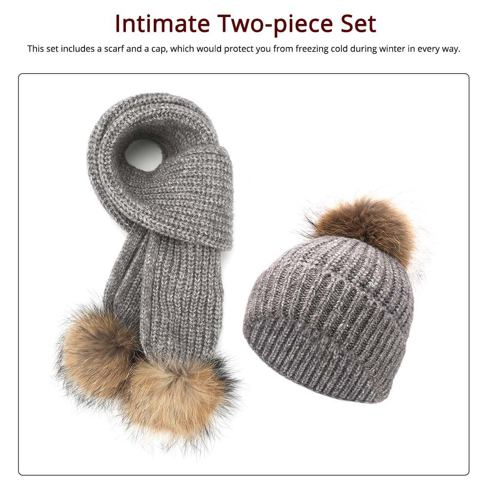 Women Beanie Hat Scarf Set with Fluffy Decorative Ball, Warm Winter Thicken Outdoor Skiing Knitted Cap Scarf Suit 11