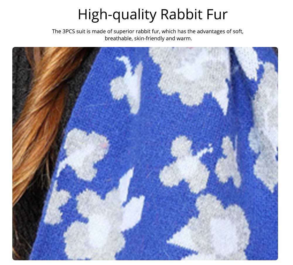Fashion Women Hat Scarf Set With Beautiful Floral Painting Warm Soft Delicate Rabbit Fur Scarf Hooded Beanie Cap 1