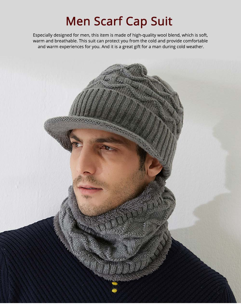 Cold Autumn Winter Men Outdoor Scarf Cap Suit, Comfortable Soft Wool Blend Knitted Face Neck Warmer Cravat 0