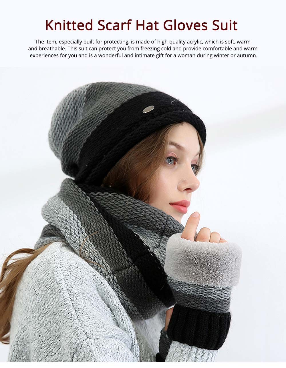 Thicken Scarf Hat Mitten Gloves 3PCS Suit, Fashion Cute Color Contrast Knitted Beanie Scarf Reflective Cap 0