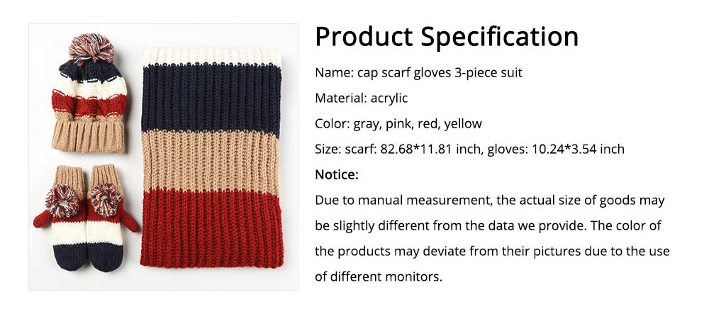 Warm Solid Women 3PCS Scarf Cap Gloves Set, Ultra-Soft Acrylic Knitted Beanies Snood Face Neck Hand Warmer 7