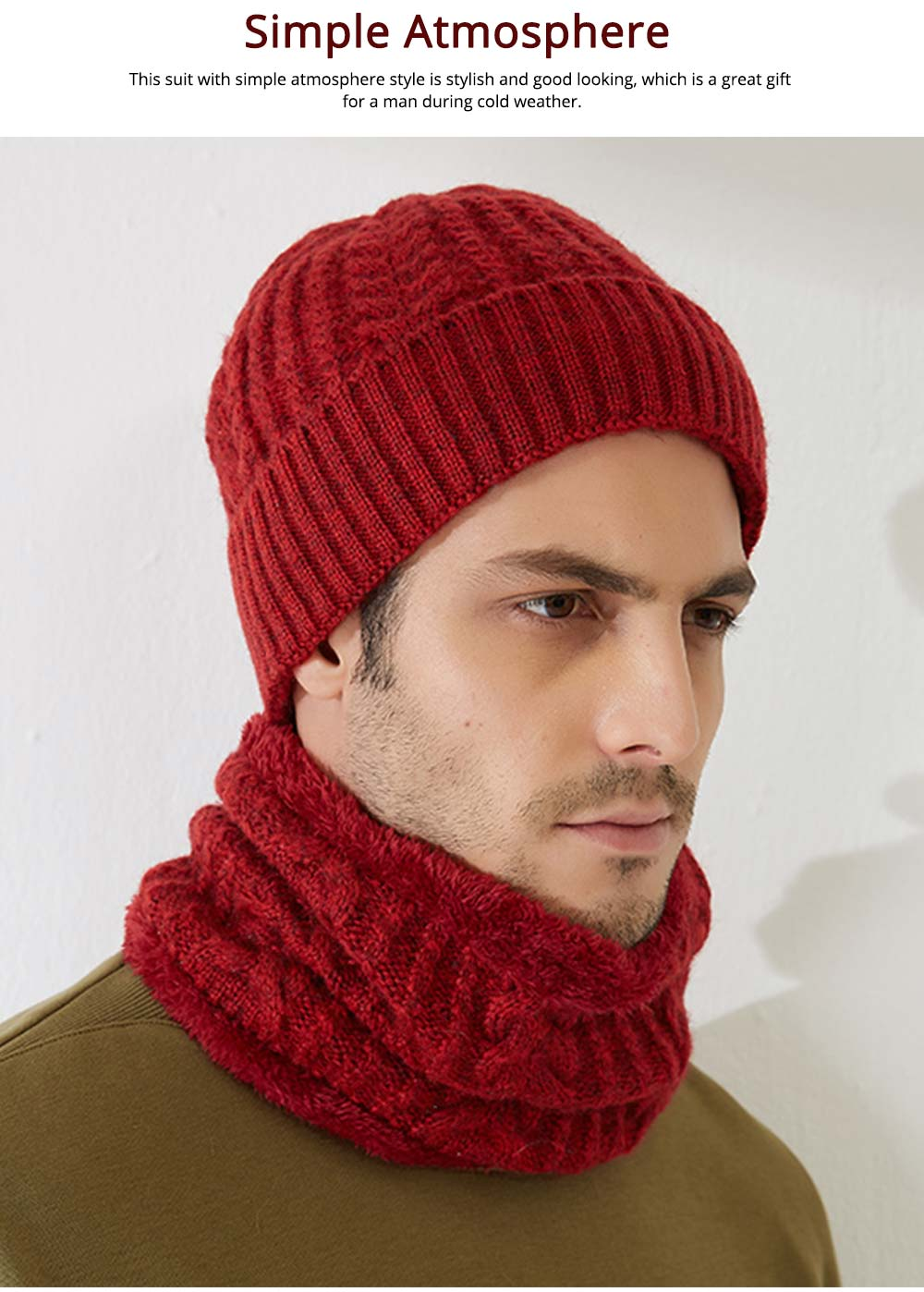 Ultra-soft Plush Knitted Hat Cap Cravat, Autumn Winter Thicken Men Outdoor Scarf Cap Suit with Smooth Plush 5