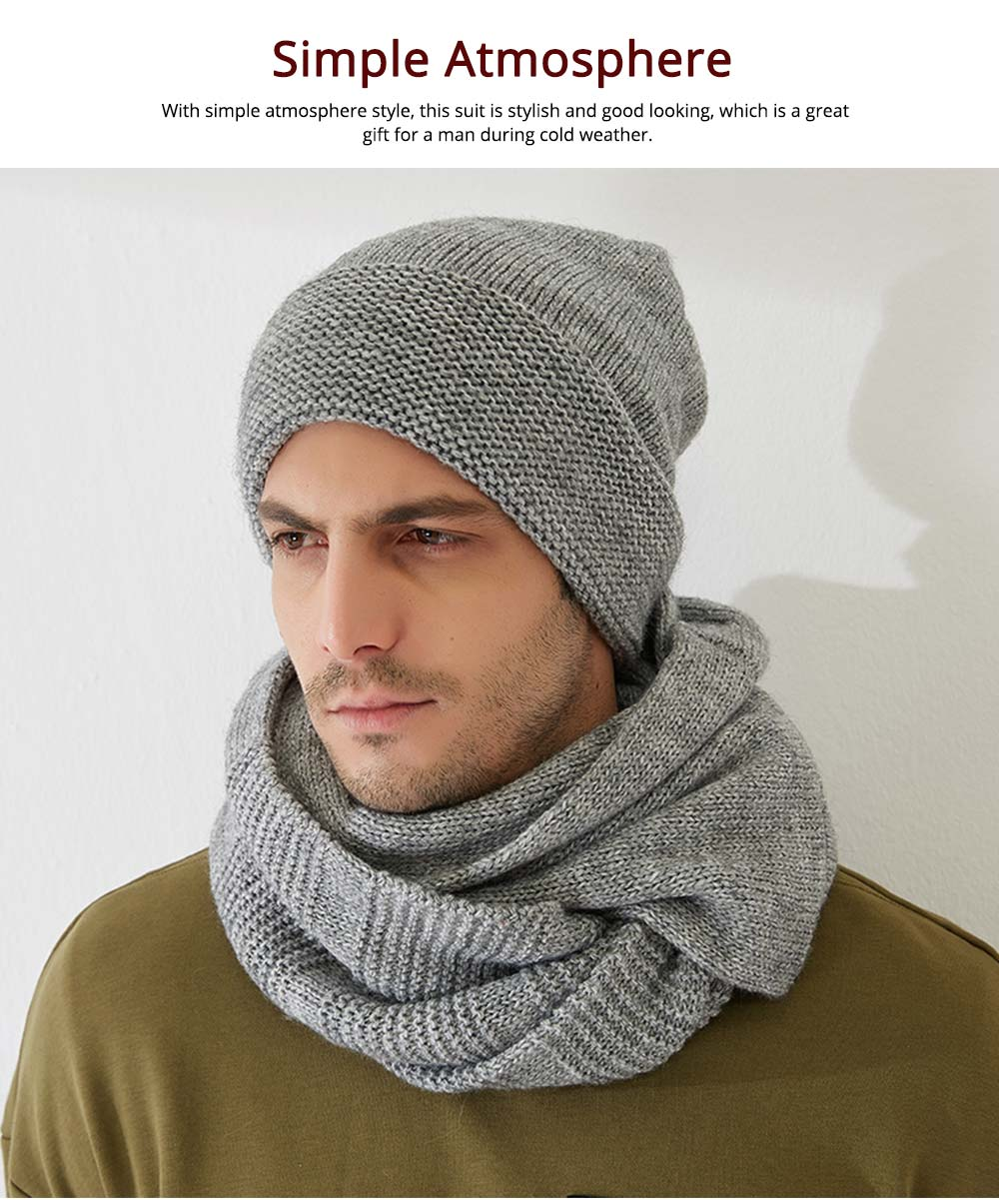 Men's Scarf and Hat 2pcs Set, Warm Soft Acrylic Elastic Face Neck Warmer Cravat 11
