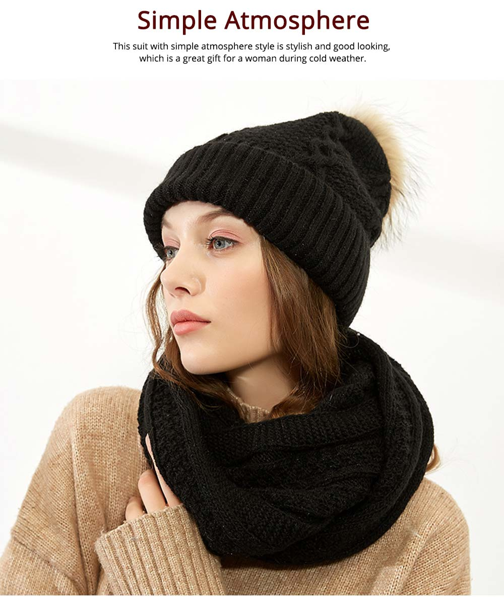 Thick Women Scarf Cap Suit, Warm Soft Acrylic Knitted Snood Face Neck Warmer Cravat Beanies 11