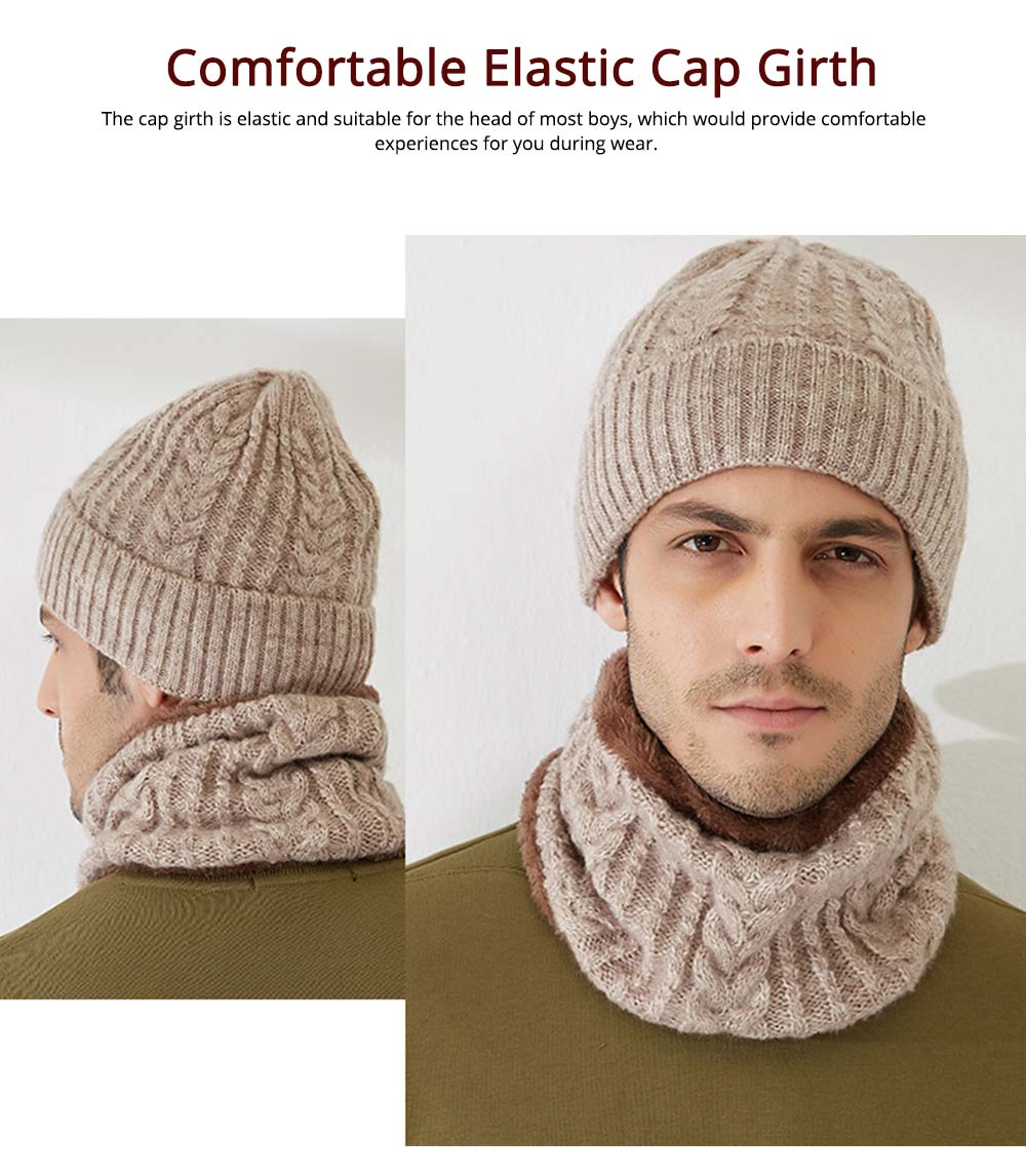 Ultra-soft Plush Knitted Hat Cap Cravat, Autumn Winter Thicken Men Outdoor Scarf Cap Suit with Smooth Plush 3
