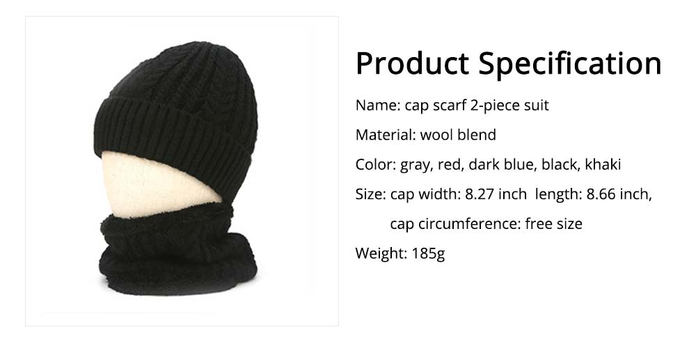 Ultra-soft Plush Knitted Hat Cap Cravat, Autumn Winter Thicken Men Outdoor Scarf Cap Suit with Smooth Plush 6
