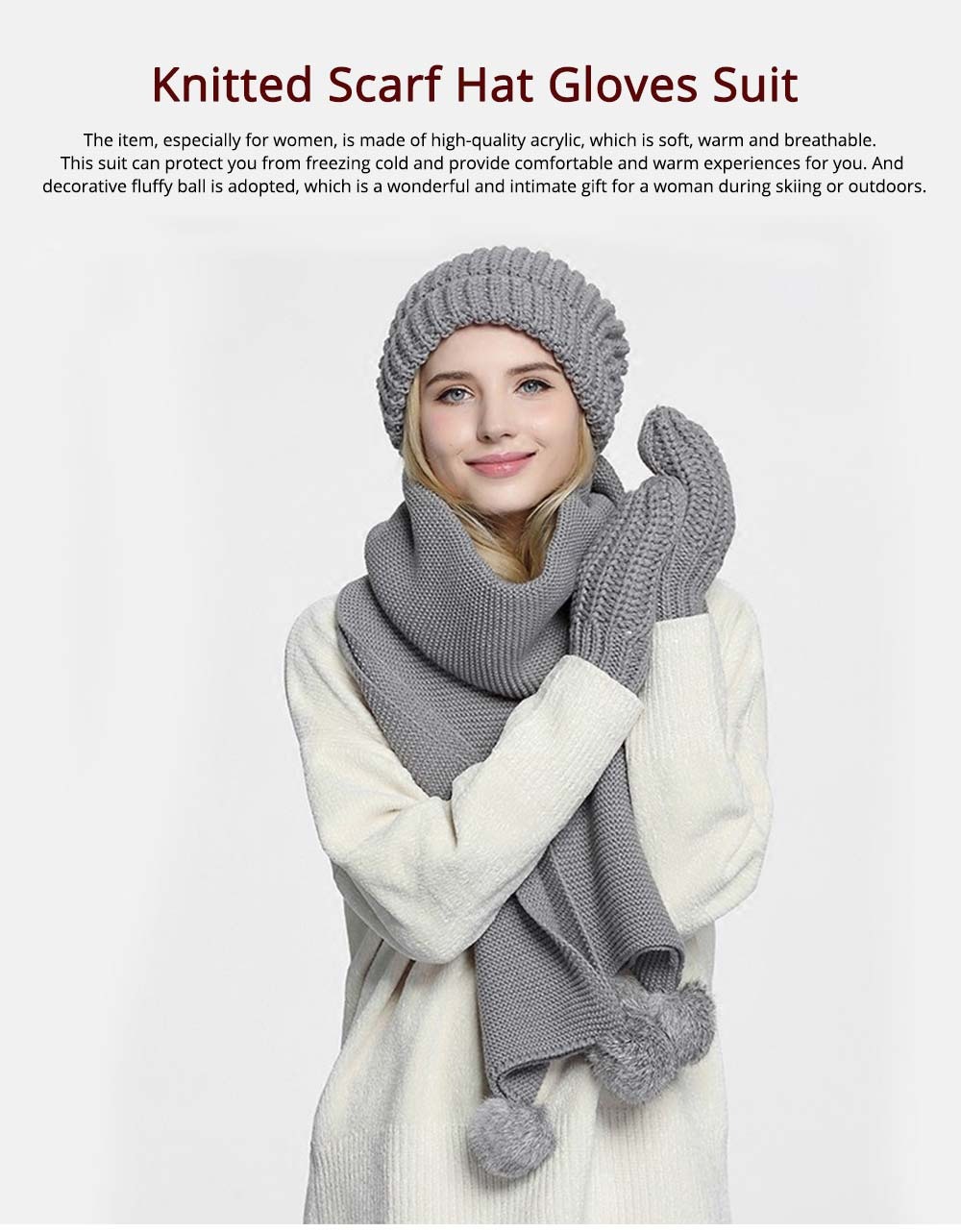Women's Accessories - Minimalist Winter Women Hat Scarf Gloves Suit, Warm Breathable Acrylic Knitted Beanie Hat and Circle Scarf 7