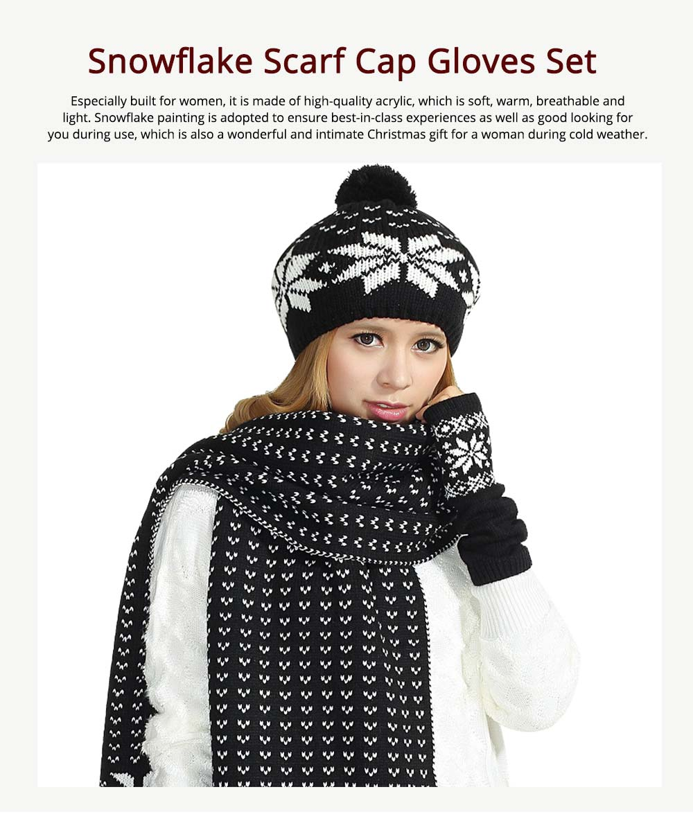 Thicken Acrylic Snowflake Painting Ladies Scarf Hat Mitt Gloves Suit Fashion Colors Contrast Winter 3 PCS Set  0