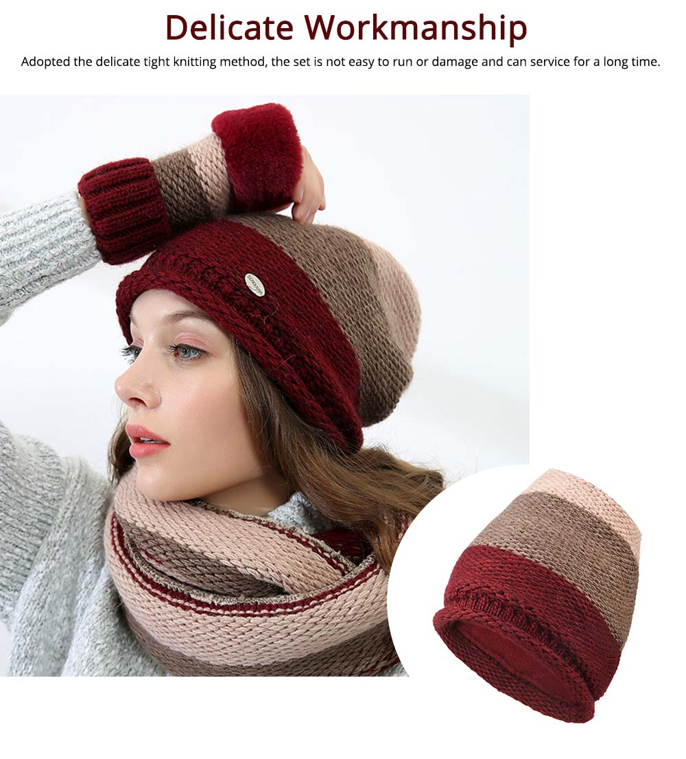 Thicken Scarf Hat Mitten Gloves 3PCS Suit, Fashion Cute Color Contrast Knitted Beanie Scarf Reflective Cap 4