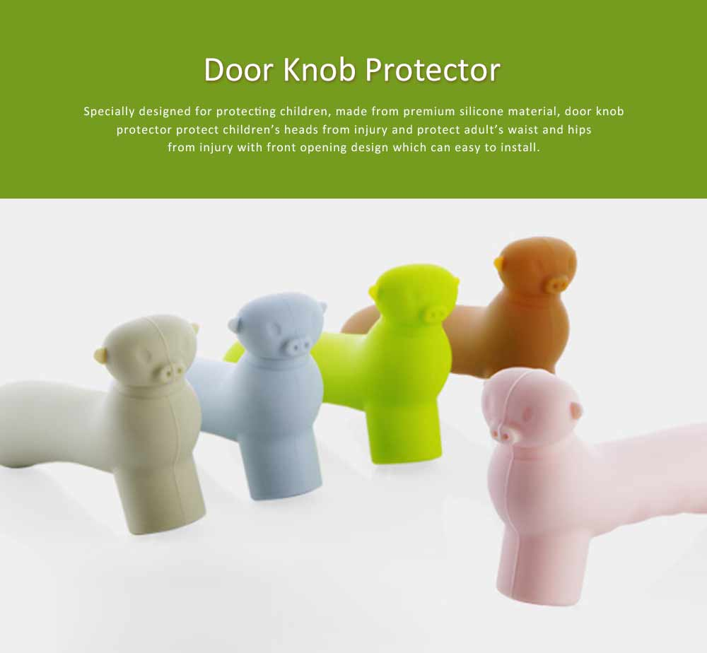 Door Knob Protector, Silicone Door Handle with Pig Man Design, Anti-collision Protective Cover for Children's Safety 0