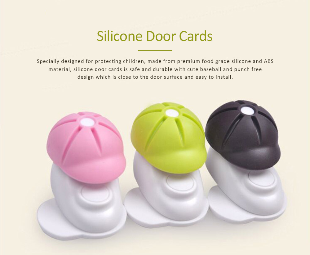 Silicone Door Stop Bumper, Door Cards with Baseball Design, Children Safety Door Stopper Tips 45mm 0