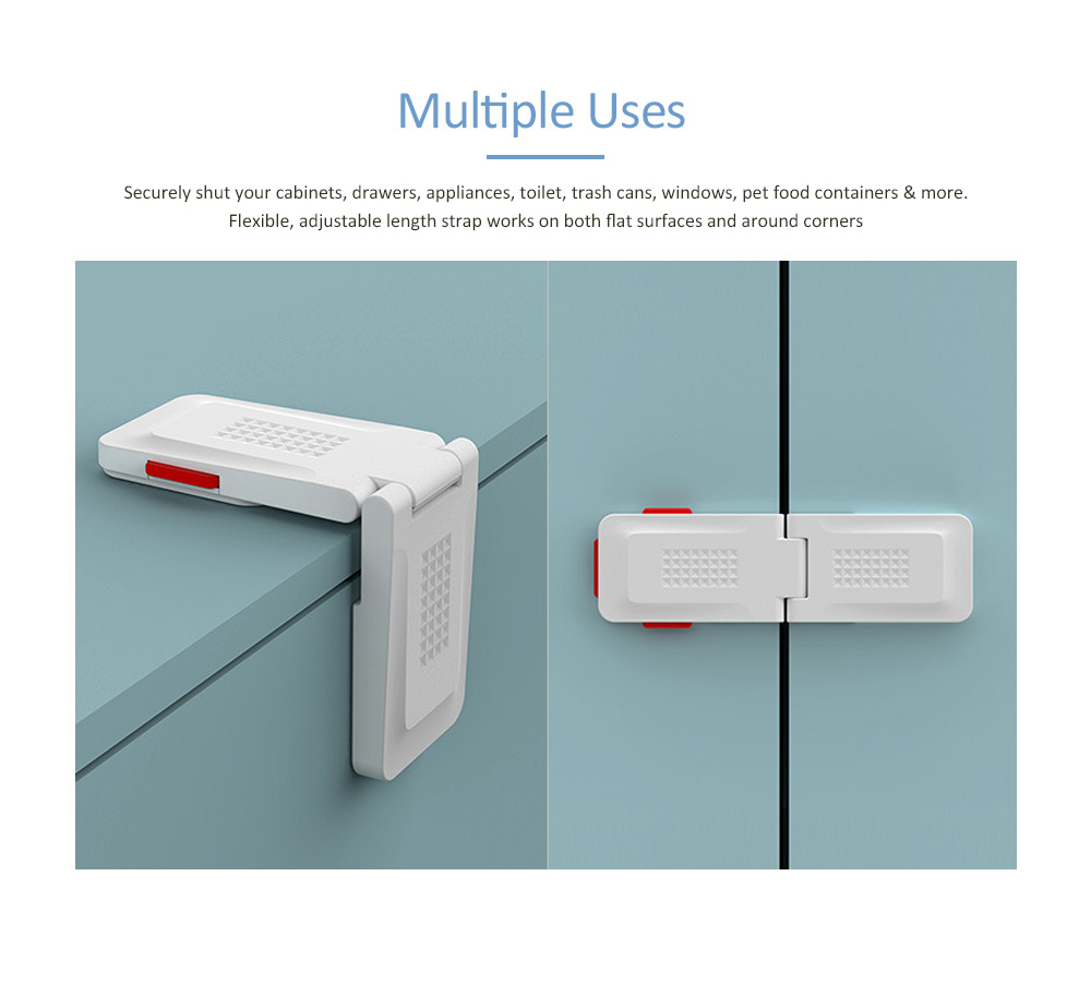 Baby Safety Adhesive Cabinet Locks, Diamond Versatile Right Angle Lock with Multiple use and Strong Adhesive 3