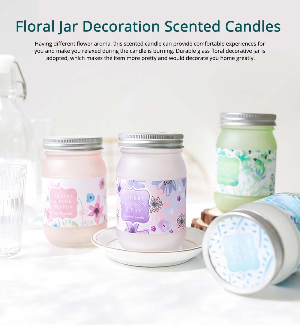 Scented Candles - Cherry Blossom Laurel Mint Fragrance, Scented Candles with Beautiful Floral Jar, Great Gift for Ladies 0