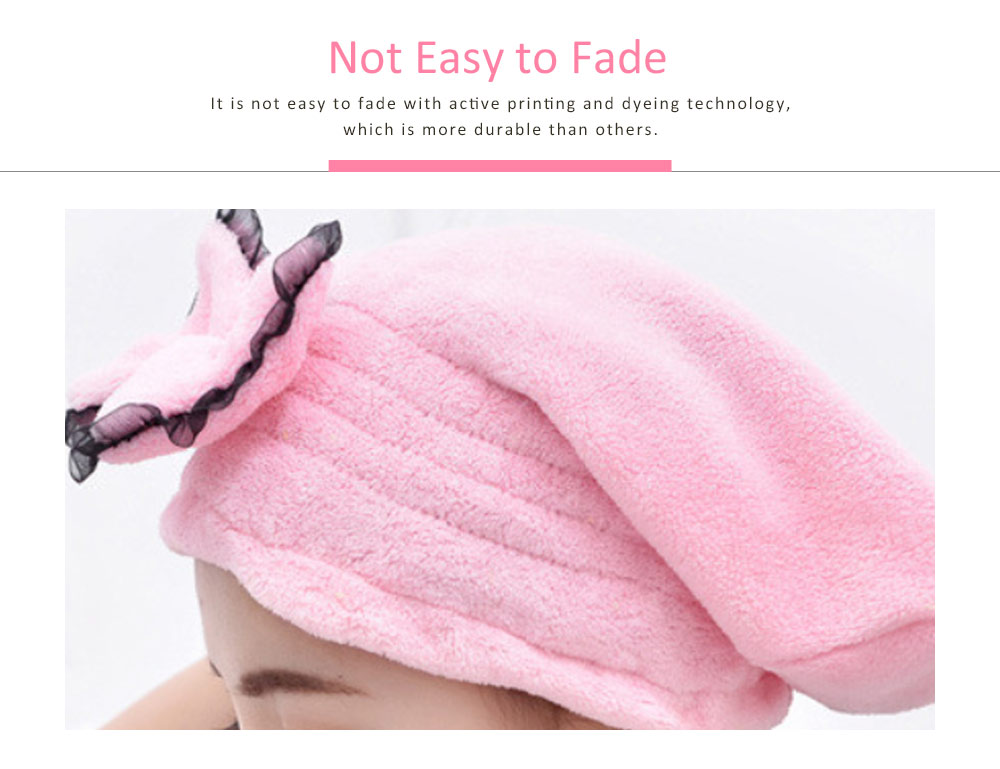 Cartoon Cute Bow Dry Hair Cap, Soft and Comfortable Coral Fleece Hair Cap 3