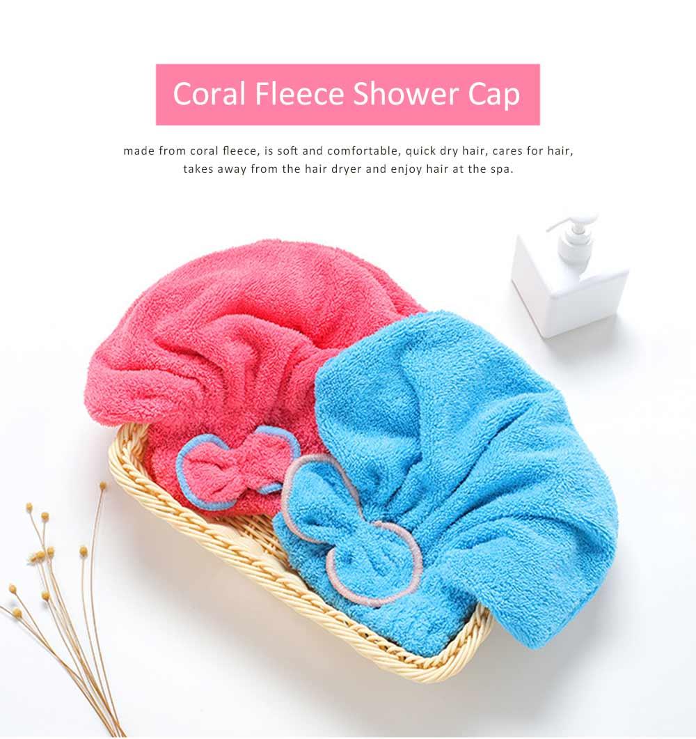 Coral Fleece Shower Cap, Water Velvet Cute Dry Hair Cap, Thickening Hooded Korean Bath Cap 0