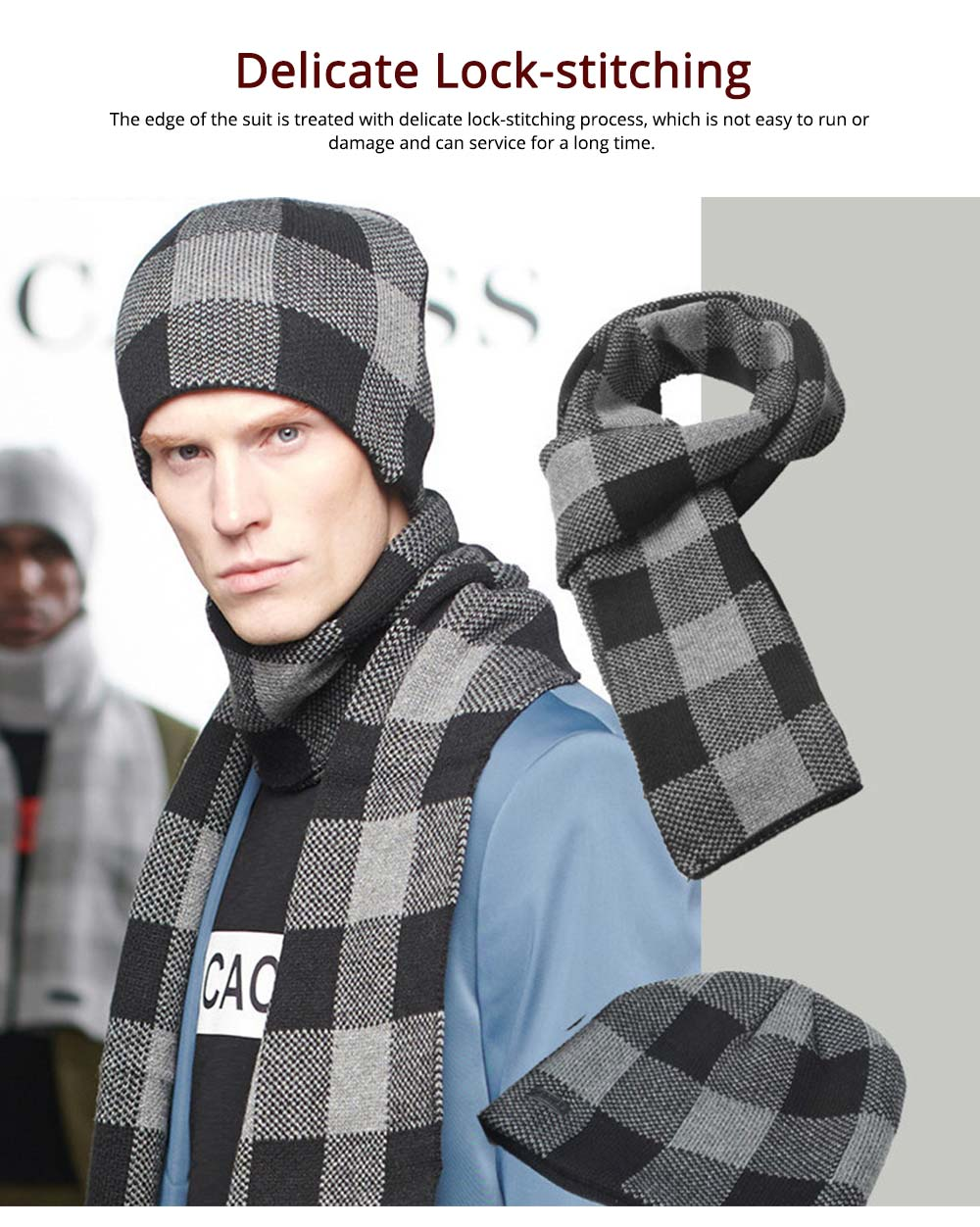 Stylish Plaid Thicken Knit Hat Scarf Set, Warm Anti-pilling Acrylic Hooded Beanie Cap Scarf Suit 3
