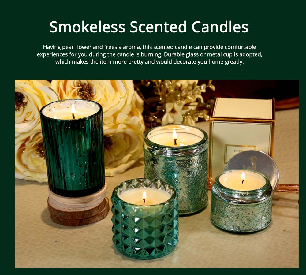 Essential Fragrance Oil Smokeless Scented Candles, British Pear Flower and Freesia Home Decoration Purify Air Candles 0