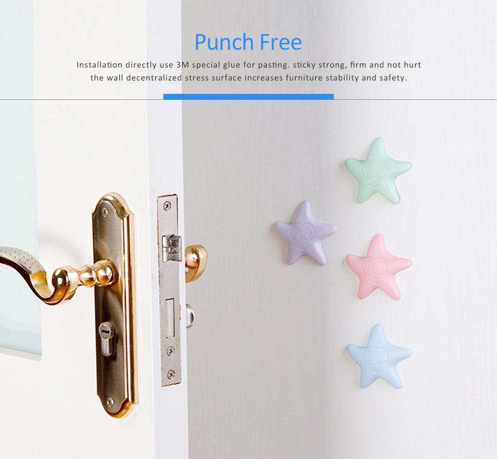 Silicone Door Stopper Wall Protector Adhesive, Star Cartoon Design Door Handle Bumper Guard for Door Knob 5