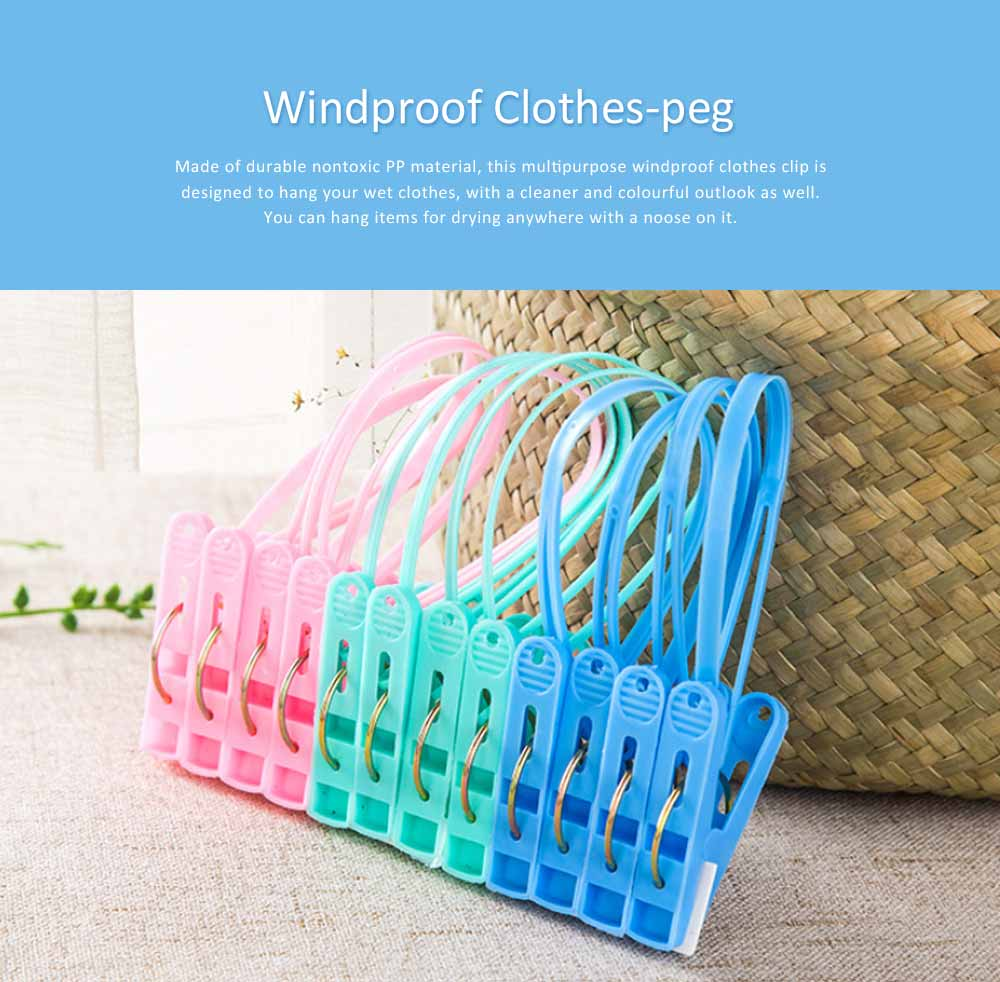Nontoxic PP Clothes Peg, Windproof Clip Pins Hanging Rope Hanger With A Noose For Underwear, Ties, Towels, 12 PCS 0