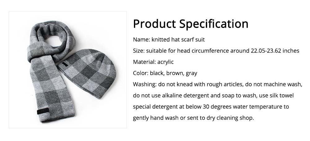 Stylish Plaid Thicken Knit Hat Scarf Set, Warm Anti-pilling Acrylic Hooded Beanie Cap Scarf Suit 7