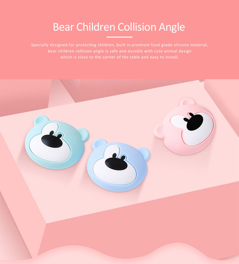 Soft Silicone Baby Corner Guards, 3M Adhesive Desk Protective Cover, Cartoon Bear Shape Desk Edge Cushion 0