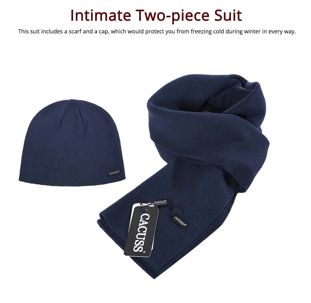 Minimalist Simple Cotton Cashmere Knit Hat Scarf Set, Warm Winter Outdoors Skiing Beanie Cap Scarf Gift 11