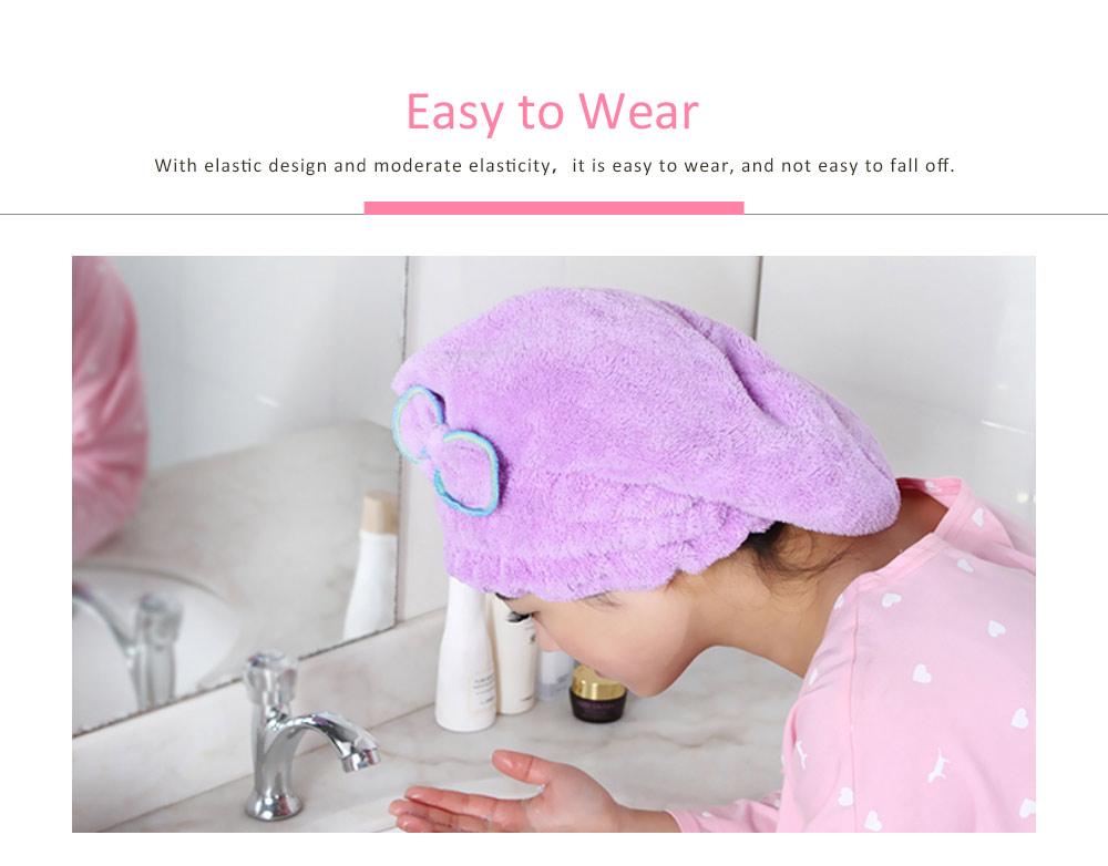 Coral Fleece Shower Cap, Water Velvet Cute Dry Hair Cap, Thickening Hooded Korean Bath Cap 1