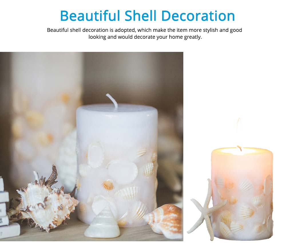 Essential Fragrance Oil Smokeless Scented Candles, Romantic Sea Shell Wedding Decoration Purify Air Candles 2