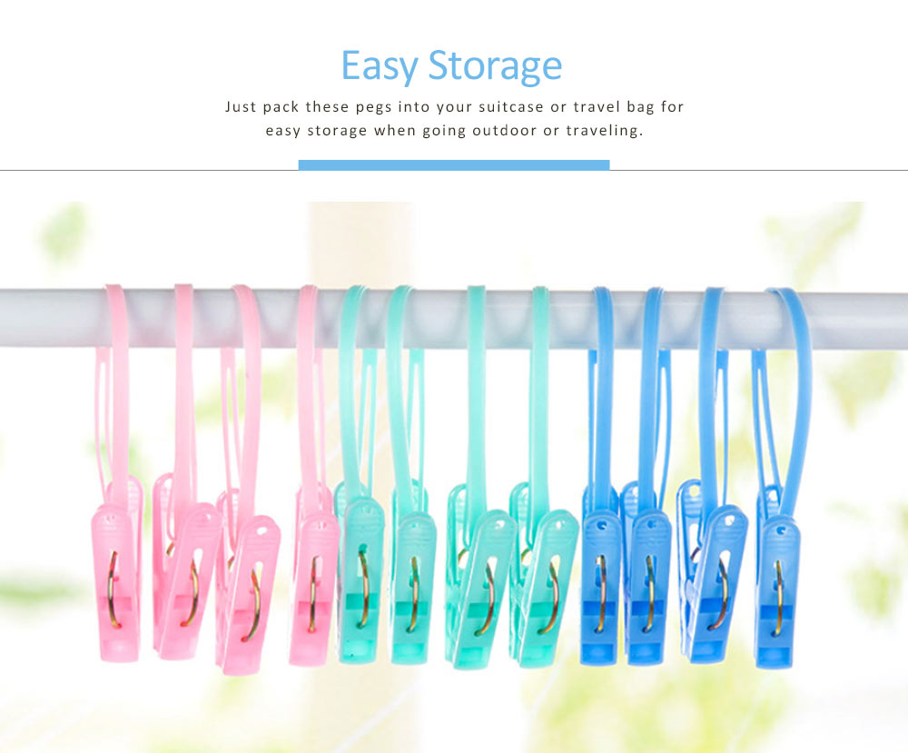 Nontoxic PP Clothes Peg, Windproof Clip Pins Hanging Rope Hanger With A Noose For Underwear, Ties, Towels, 12 PCS 4