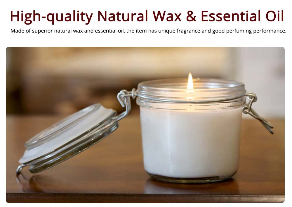 Natural Rosemary Fragrance White Scented Candles with Sealed Glass, Minimalist Floral Smokeless Home Decoration Candles 1