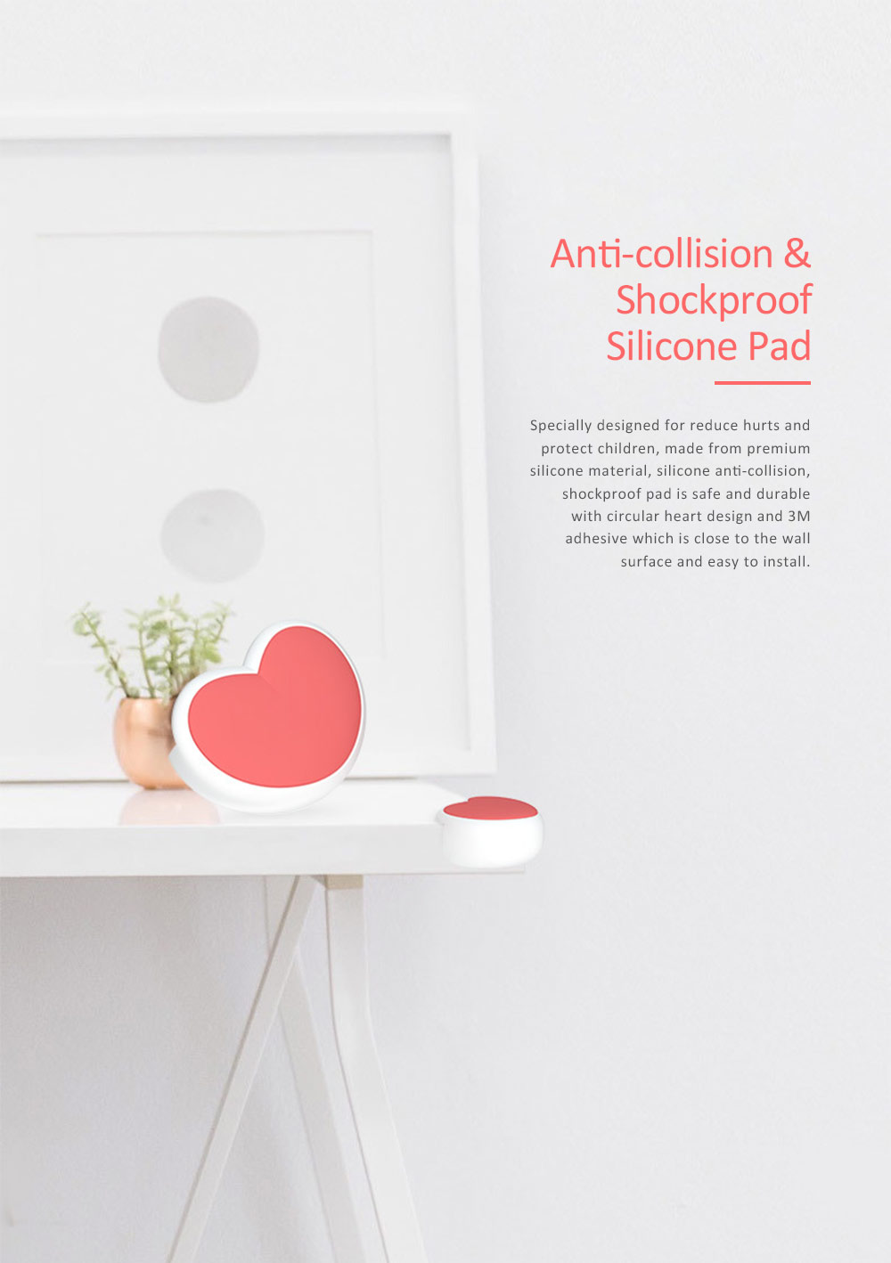 Desk Corner Thickened Protective Pad with Heart Design, Silicone Anti-collision, Shockproof Surround Pad 0