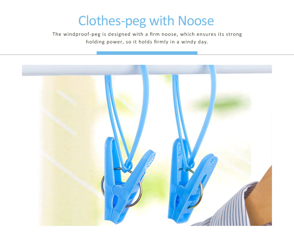 Nontoxic PP Clothes Peg, Windproof Clip Pins Hanging Rope Hanger With A Noose For Underwear, Ties, Towels, 12 PCS 2