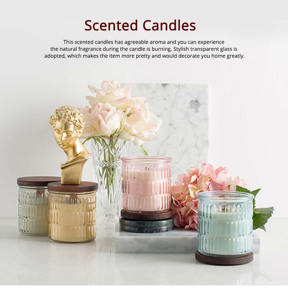 Scented Candles with Essential Fragrance Oil, Vintage Romantic Bedroom Decoration Hypnotic Purify Air Candles, Transparent Glass 0