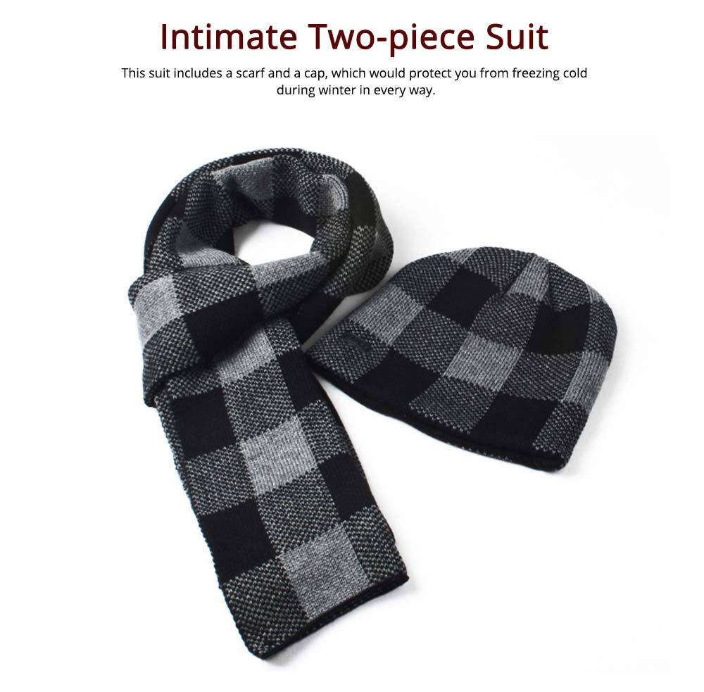 Stylish Plaid Thicken Knit Hat Scarf Set, Warm Anti-pilling Acrylic Hooded Beanie Cap Scarf Suit 4