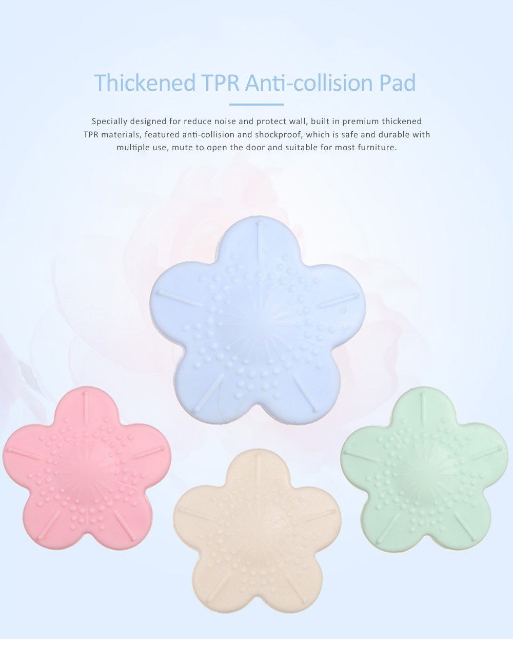 Door Handle Anti Collision Pad, Shockproof Thickening Pad with Cherry Blossom Design 0