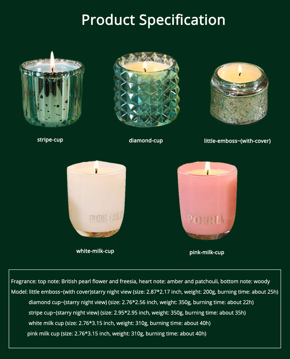 Essential Fragrance Oil Smokeless Scented Candles, British Pear Flower and Freesia Home Decoration Purify Air Candles 6