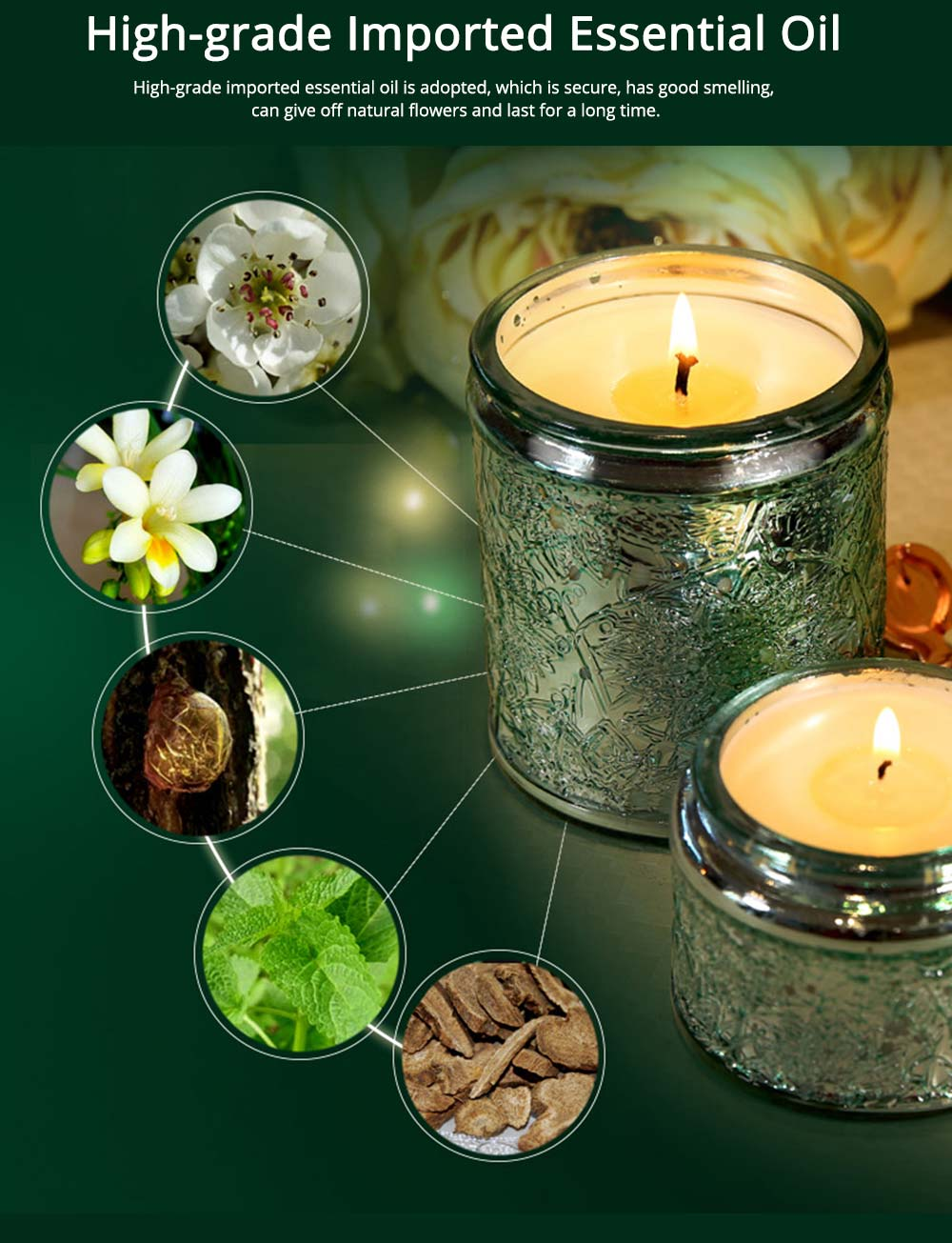 Essential Fragrance Oil Smokeless Scented Candles, British Pear Flower and Freesia Home Decoration Purify Air Candles 2