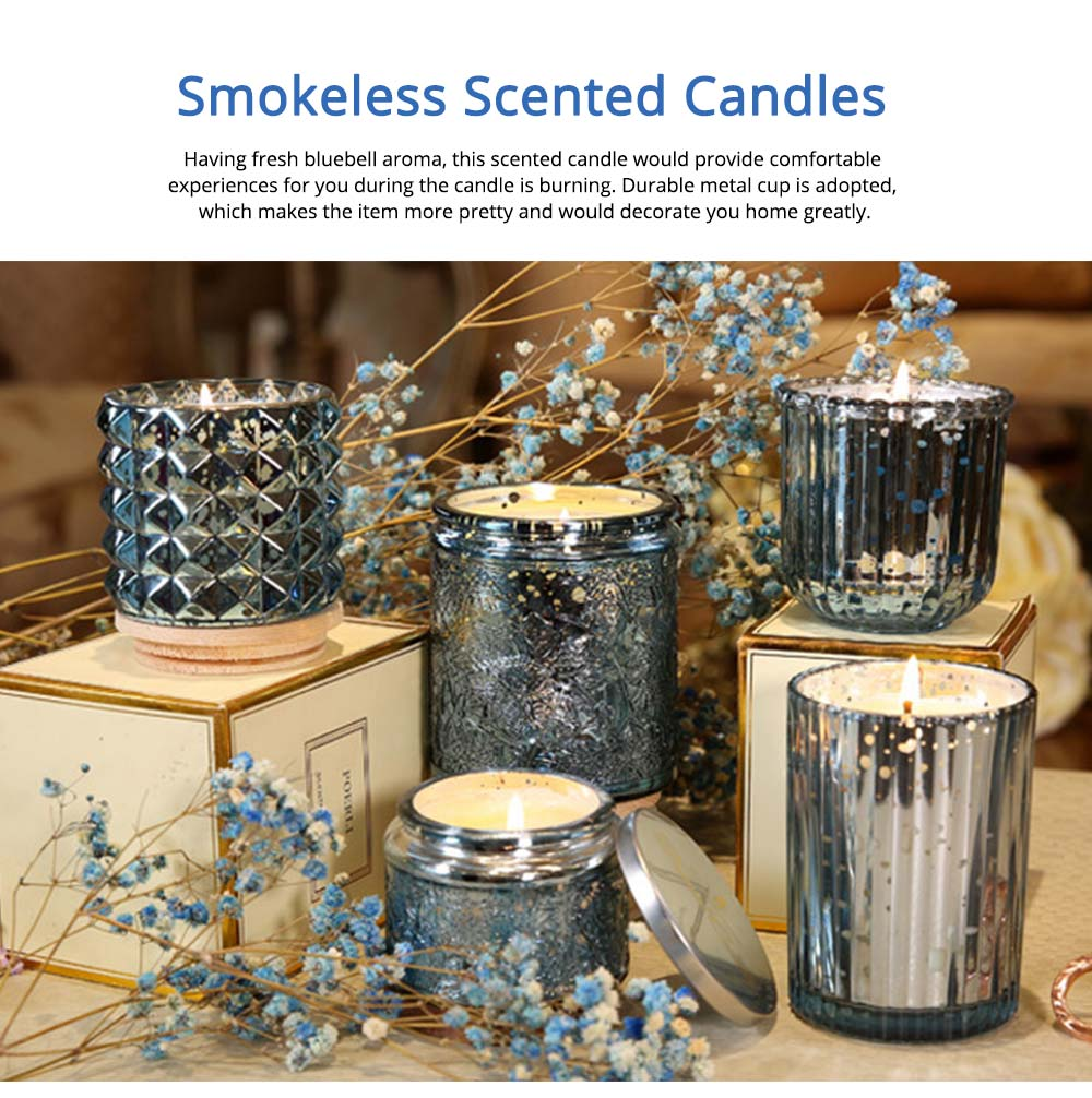 Essential Bluebell Fragrance Oil Smokeless Scented Candles, Romantic Home Decoration Soy Wax Candles Gift 6