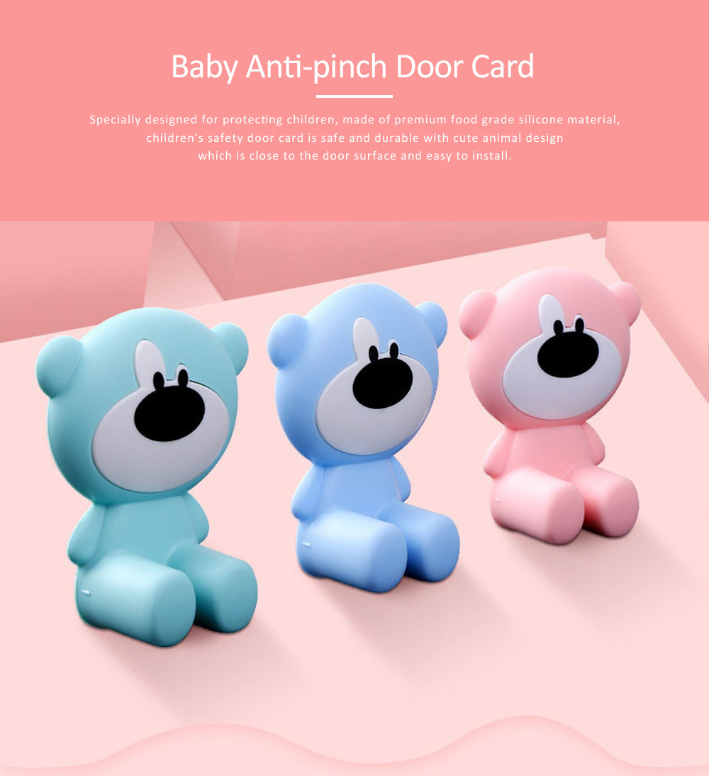 Door Stopper Baby Proof, Children's Safety Door Card with Bear Design, Anti-clamping, Anti-lock Hand Door Card 0