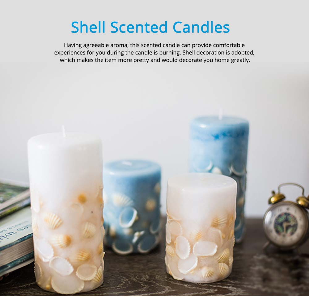 Essential Fragrance Oil Smokeless Scented Candles, Romantic Sea Shell Wedding Decoration Purify Air Candles 6